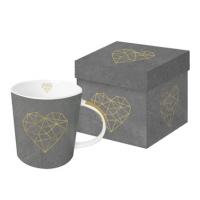 Porzellan-Henkelbecher - Geometrischer Herzzement aus echtem Gold