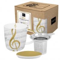 Tee-Tassen - Mug Lid & Strainer cardboard I Love Music real gol
