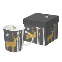 Porzellan-Henkelbecher - Mystic Deer anthracite real gold