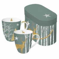 Porzellan-Henkelbecher - Set GB Mystic Deer sage real gold