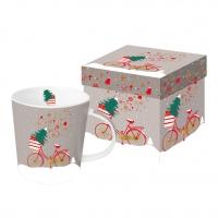 Porzellan-Henkelbecher - Weihnachtsfahrrad