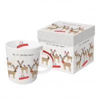 Porzellan-Henkelbecher - Oh, christmas again!