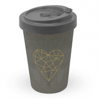 Bamboo mug To-Go - Geometric Heart cement