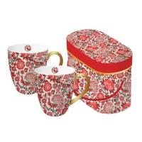 Porzellan-Henkelbecher - Set Pavone rosso echtes Gold