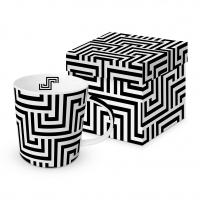 Porzellan-Henkelbecher - Quadratische Linien schwarz