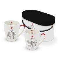 Porzellan-Henkelbecher - Lieblingskaffee