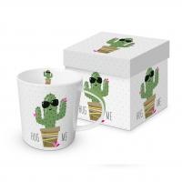 Porzellan-Henkelbecher - Umarme mich Kaktus