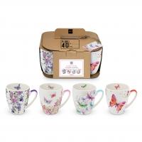 Porzellan-Henkelbecher - Mugs Flower Splash Set of 4