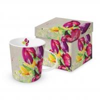 Porzellan-Henkelbecher - Pretty Tulips