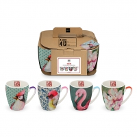 Porzellan-Henkelbecher - Mug Osieaux Set of 4