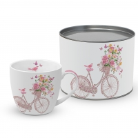Porzellan-Tasse - Happy Bike
