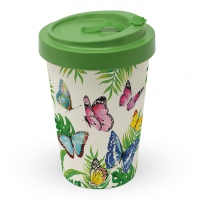Bamboo mug To-Go - Tropical Butterlies