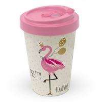 Bambusbecher To-Go - Hübscher Flamingo