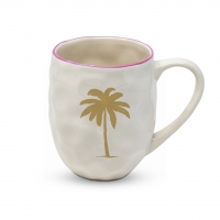 Porzellan-Henkelbecher - Organic Mug Palm Fantasy real gold