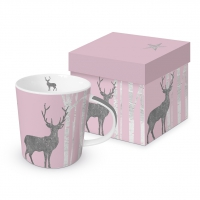 Porzellan-Henkelbecher - Mystic Deer rosé real platinum