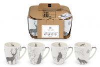 Porzellan-Henkelbecher - Mugs Mystic real platinum Set of 4