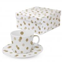 Kaffee Tassen - Dots real + fake gold