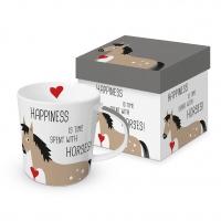 Porzellan-Henkelbecher - Happiness & Horses