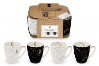 Porzellan-Henkelbecher - Mugs Moonlight & Shooting Star Set of 4 real gold