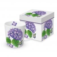 Porzellan-Henkelbecher - Hydrangea & Butterfly