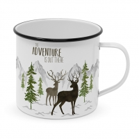 Metal Cup - Adventure Deer white Happy Metal Mug