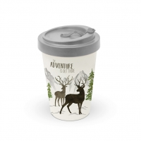 Bamboo mug To-Go - Adventure Deer white Travel Mug