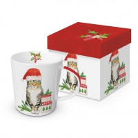Porzellan-Henkelbecher - Christmas Kitty Trend GB