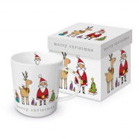 Porzellan-Henkelbecher - Christmas Friends Trend