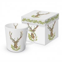Porzellan-Henkelbecher - Green Deer Trend GB