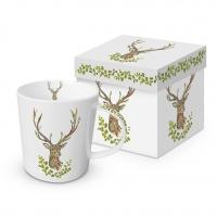 Porzellan-Henkelbecher - Green Deer Trend