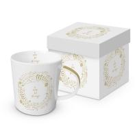 Porzellan-Henkelbecher - Magic white Real Gold Trend