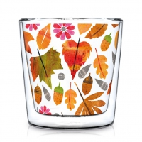 Doppelwand Glas 0,3 L - Autumn Leaves Trendglas DW