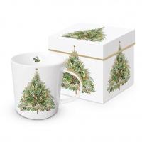 Porzellan-Henkelbecher - Christmas Hill Tree Trend GB