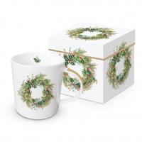 Porzellan-Henkelbecher - Christmas Hill Wreath Trend GB