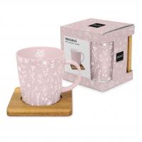 Porzellan-Henkelbecher - Pure Flower rosé Trend nature