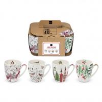 Porzellan-Henkelbecher - Scandic Christmas 4 Mug Set