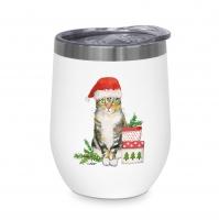 Edelstahl Thermo Mug - Christmas Kitty
