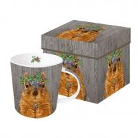 Porzellan-Henkelbecher - Winter Berry Squirrel