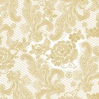 Servietten 33x33 cm - Lace Royal pearl gold