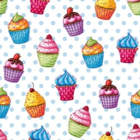 20 Servietten 33x33 cm - Cupcakes