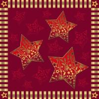 20 Servietten 25x25 cm - Sparkling Stars rot