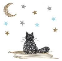 20 Servietten 33x33 cm - Dreaming Cat weiss