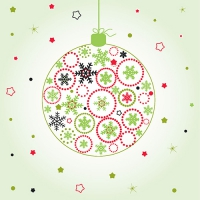 20 Servietten 33x33 cm - Green X-Mas Ball