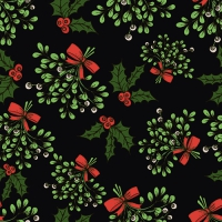20 Servietten 33x33 cm - Holly and Mistletoe schwarz