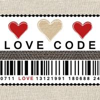 20 Servietten 33x33 cm - Love Code
