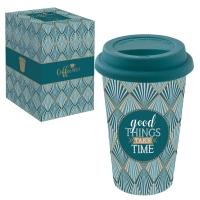 Porzellan Mug To-Go 350ml - GOOD THINGS TAKE TIMES