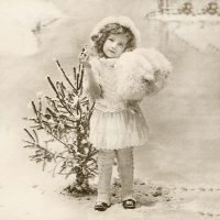Servietten 33x33 cm - Girl with Christmas