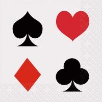 Servietten 25x25 cm - Poker weiss
