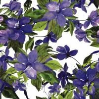 Servietten 25x25 cm - Blühende Clematis fliederfarben