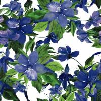 Servietten 25x25 cm - Blühende Klematis blau